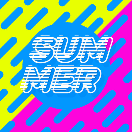Summer poster colorfull style modern typography on yellow pink background for banner sale, party, decoration, card, promotion. Vector Illustration. 免版税图像 - 98968349