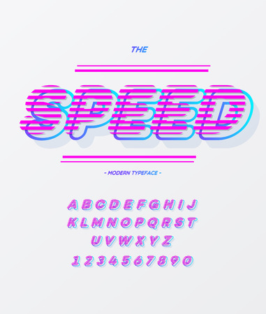 Speed alpabet on white background. Font modern colorful style for t shirt, animation, video, poster, printing, decoration. Cool typeface trend typography. Vector Illustration 10 eps Stock Photo