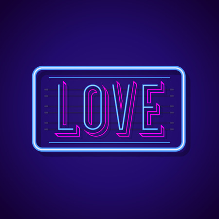 Love sign neon style with colorful frame on cyan background for sex shop, cafe, restaurant, poster party. Bright signboard. Vector Ilustration 10 eps