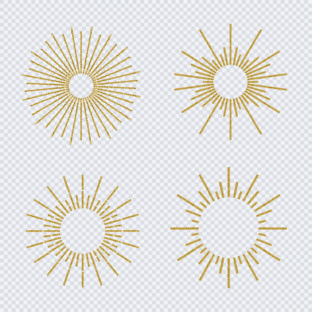 Vector sunburst gold glitter style set isolated on transparent background. Firework explosion, star, rays of light collection. 10 eps 스톡 콘텐츠