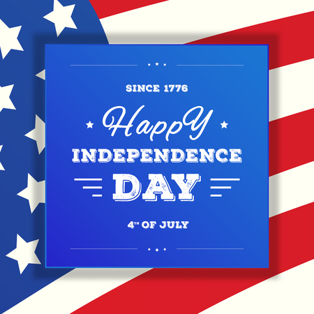 Fourth of july sale card. Happy independence day banner on american flag background for greeting card, flyer, poster, decoration, greeting card. Vector illustration 10 eps Stock Photo