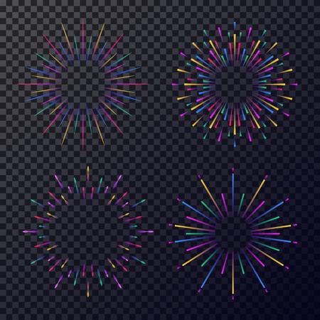 Vector neon stars set isolated on transparent background. Fireworks, sunburst, rays of light for tag, emblem, logo, stamp, logotype, t shirt, banner. 10 eps Illustration