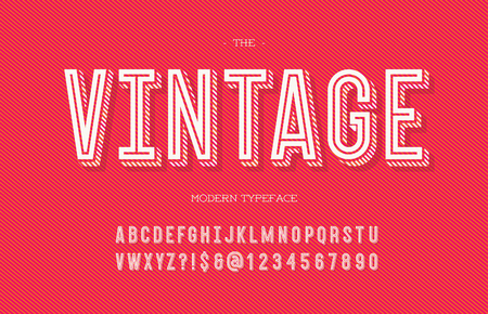 Vintage modern typeface. Alphabet trendy typography sans serif style for party poster, printing on fabric, t shirt, promotion, decoration, stamp, label, special offer. Cool font. Vector 10 eps