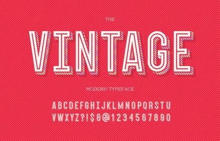 Vintage modern typeface. Alphabet trendy typography sans serif style for party poster, printing on fabric, t shirt, promotion, decoration, stamp, label, special offer. Cool font. Vector 10 eps Vektoros illusztráció