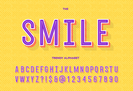 Smile trendy alphabet. Font modern typography sans serif style for party poster, printing on fabric, t shirt, promotion, decoration, stamp, label, special offer. Cool typeface. Vector 10 eps Vectores