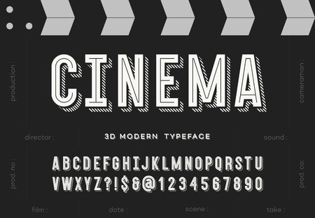 Cinema 3d modern typeface. Trendy typography sans serif style alphabet for party poster, printing on fabric, t shirt, promotion, decoration, stamp, label, special offer. Cool font. 10 eps Illustration