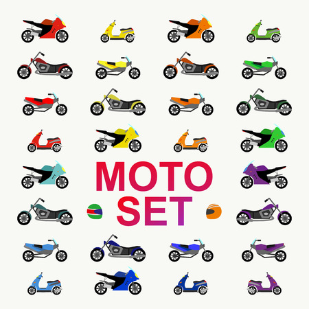 motocircle and motobike set flat style for concept, gift wrap, printing on fabric, party poster, decoration, scrapbooking, banner, greeting card, sale, promotion. kids auto, car cartoon style.