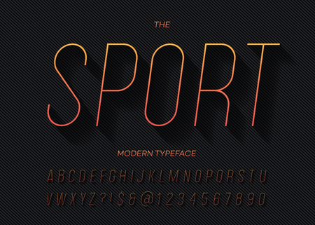 Sport dynamic slanted alphabet thin gradient color style.