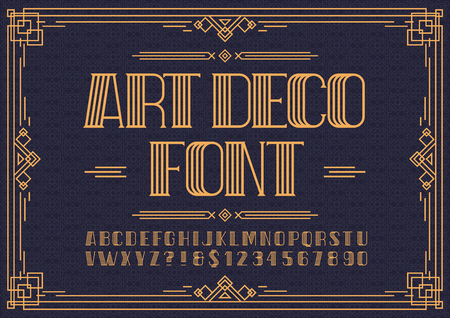 Art deco font. Retro font sans serif style for party poster, printing on fabric, t shirt, promotion, decoration, stamp, label. Cool bold modern alphabet vintage typography.