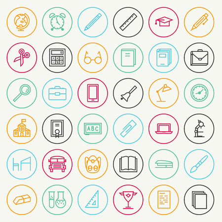 Vector school and education icon set line color style isolated on white background. School supplies.