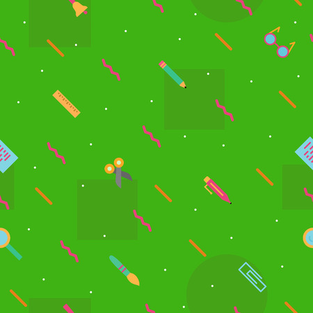 vector school pattern on green background with modern colorful style education supplies such us glass, ruler, pencil, pen, brush for banner, poster, party, super sale offer. 10 eps Ilustrace