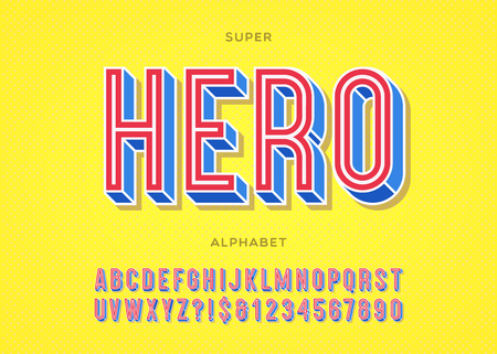 Vector hero font typography colorful style for logo, decoration, party poster, t shirt, book, greeting card, sale banner, printing on fabric. Cool trendy 3d typeface. Modern alphabet. 10 eps