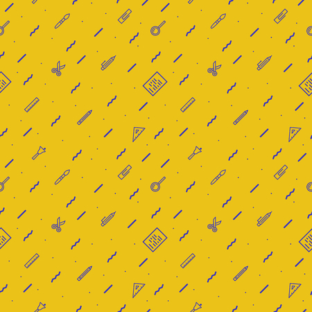 vector school pattern on yellow background with modern line style cyan color education supplies such us pen, glass, ruler, pencil, brush  for poster, party, super sale offer.10 eps