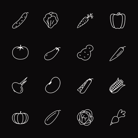Vector vegetable icon set isolated on black background with pumpkin, tomato, chili, cucumber, cabbage, potato, carrot, onion, corn, pepper, pea, bean, radish for banner sale, pattern, logo. Eps 10 Illustration