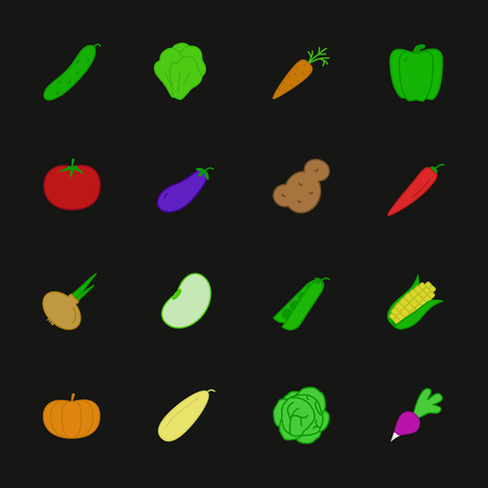 vegetable icon set flat style isolated on background with corn, pepper, bean, radish, pumpkin, tomato, chilli, cucumber, cabbage, potato, carrot, onion for banner sale, pattern, logo. vector 10 eps Ilustração