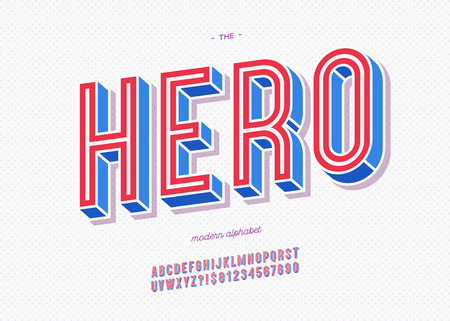 Vector hero typeface trendy typography colorful style for decoration, logo, party poster, t shirt, book, greeting card, sale banner, printing on fabric, stamp. Cool 3d font. Modern alphabet. Eps 10 Illustration