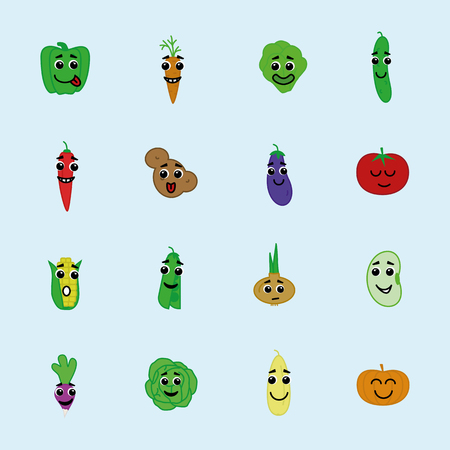 vector happy vegetable icon set with eyes and smile flat style - corn, pepper, pea, bean, radish, pumpkin, tomato, potato, carrot, onion for banner sale, pattern, logo, decoration. 10 eps