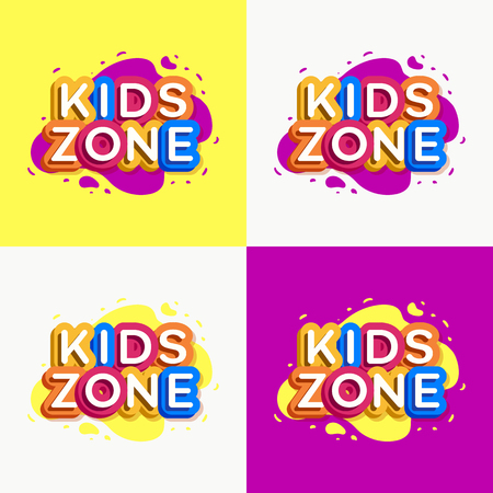 Vector kids zone logo set colorful style for game store, kids shoes, baby club, children school, clothes company, toys shop, toy market, cafe, education club, dress shop, firm, cartoon label. 10 eps Ilustração
