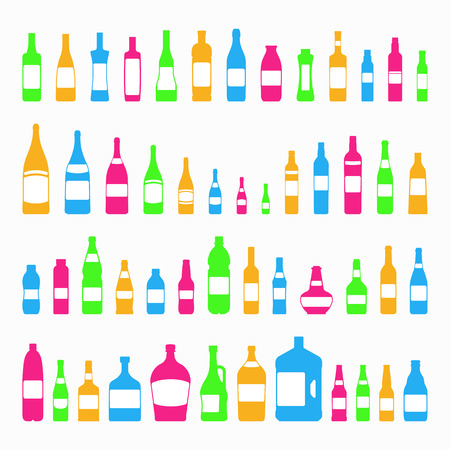 bottles and glasses icon set colorful style isolated on white background different form with plastic containers for cosmetics, water, alcohol. Bottle with white label. vector 10 eps