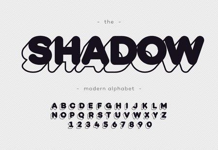 Vector shadow typeface modern typography sans serif style for book, promotion, poster, decoration, t shirt, sale banner, printing on fabric. Cool 3d bold alphabet. Trendy font. 10 eps