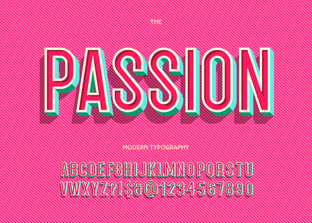 Vector passion font trendy typography sans serif style for book, promotion, poster, decoration, t shirt, sale banner, printing on fabric. Cool 3d bold alphabet. Modern typeface. 10 eps  イラスト・ベクター素材