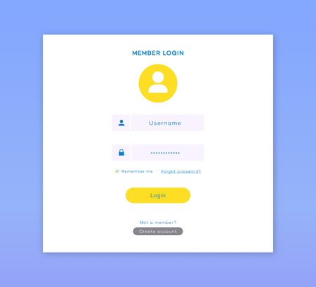 Login form page template flat style for app development, smartphone mockups, website ui elements, online login form, registration, user profile, access to account concept. Vector 10 eps
