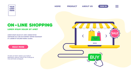 Vector web page template of online shopping trendy flat style. Concept for e-commerce mobile apps, mobile website. Landing page backdrop. Modern interface UX, UI screen template for web site. 10 eps