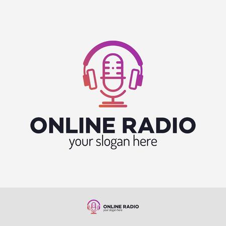 Online radio logo set isolated on white background for online radio station, blog, website, streaming. Vector 10 eps