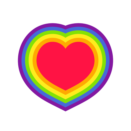 Colorful rainbow heart of LGBTQ pride flag colors - symbol of lesbian, gay, bisexual, transgender, and questioning. Vector 10 eps