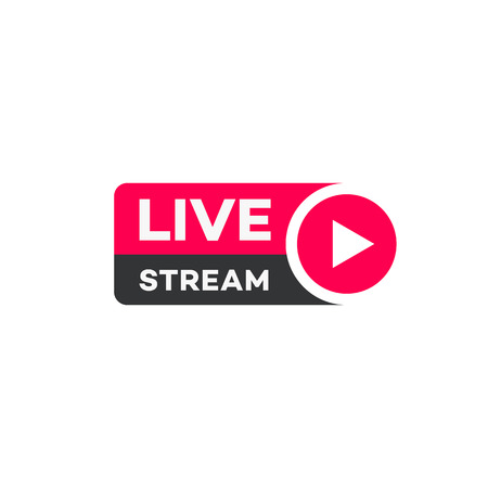 Vector live stream logo flat style with play button isolated on background for  blog, player, broadcast, website. online radio, media labels. Live stream banner. 10 eps Archivio Fotografico