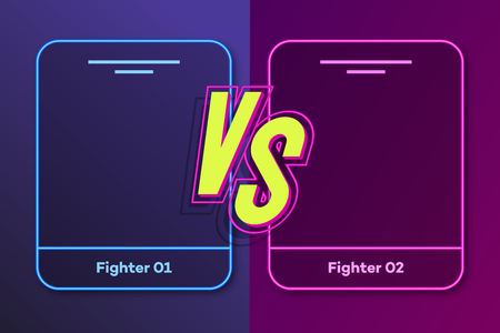 Versus banner with frame for two fighters and vs sign modern neon style on background for sport, competition, contest, match game, announcement of two fighters, battle. VS concept. 10 eps Banque d'images - 114023911