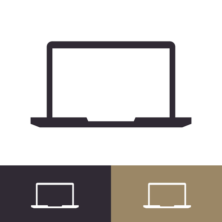 Vector laptop icon set isolated on background for logo, emblem, logotype your business. Notebook 10 eps Foto de archivo - 127219195
