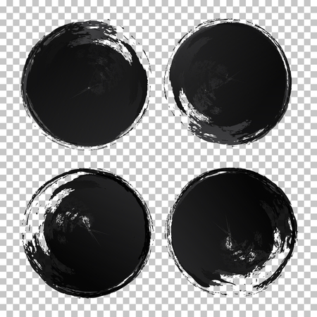 Vector hand draw watercolor circle texture brush strokes set black color isolated on transparent background for painting, logo, emblem, label. Hand made grunge stripes circle. 10 eps Ilustração
