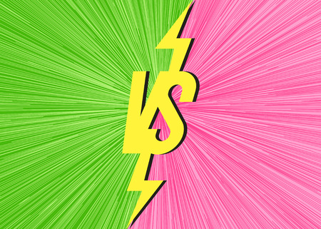 Vector versus banner with vs sign on modern background green pink color for battle, sport, competition, contest, match game, announcement of two fighters. Trendy VS concept. Vector 10 eps