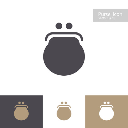 Vector purse icon set isolated on background. Wallet symbol for ui, mobile app, infographic, web site design, change service, mobile money, saving, logo, economy concept. 10 eps