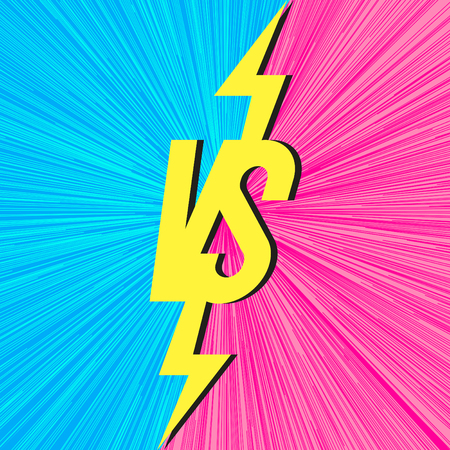 Vector versus banner with vs sign on trendy background cyan pink color match game, for battle, sport, competition, contest, announcement of two fighters. Modern VS concept. Vector 10 eps Banque d'images - 114024344