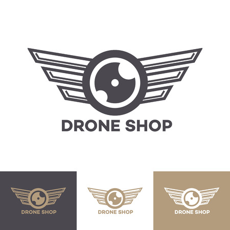 Vector drone logo set isolated on background for shop, drone service logo, flying club label, badge and design element. 10 eps