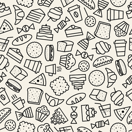 vector hand drawn seamless pattern with sweet, fresh cupcake and dessert icons outline style black color for cafe, restaurant, bakery shop, packaging wrapping paper. Baked background 10 eps