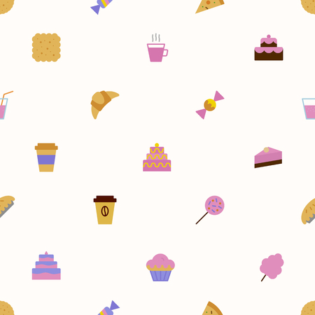 vector sweet pattern colorful style for menu, dessert banner, cupcake, website, bakery shop, cafe, restaurant, packaging wrapping paper. Baked background 10 eps