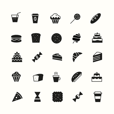 simple bakery icons set flat style black color isolated on background with cake and dessert for logo, confectionery store, bakery shop, cafe, restaurant, sweet pattern, packaging paper. vector 10 eps