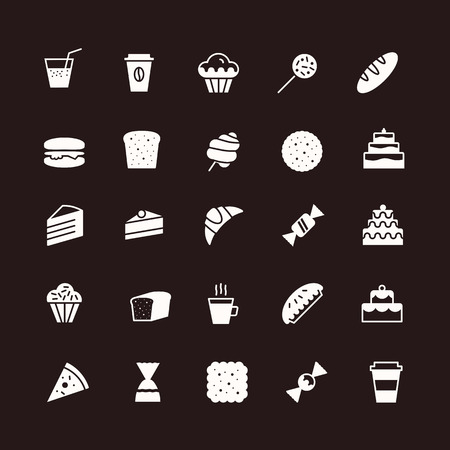 vector hand draw icons set of bakery flat style isolated on background with cake and dessert for confectionery store, bakery shop, logo, cafe, restaurant, sweet pattern, packaging paper 10 eps
