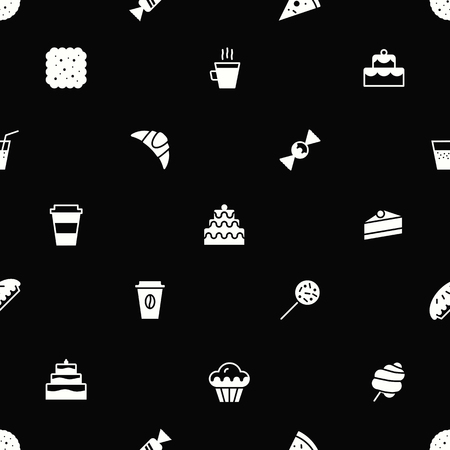 bakery seamless pattern flat style white color for website, menu, dessert banner, cupcake, sweet shop, cafe, restaurant, packaging wrapping paper. Baked background vector 10 eps Stock Photo