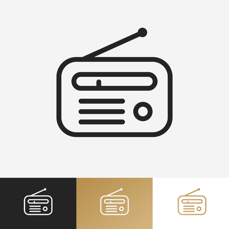 Vector radio logo set isolated on background for online radio station, blog, website, streaming. 10 eps Vettoriali