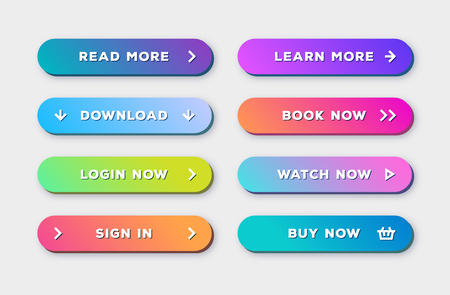 Vector button set 3d bold modern trendy gradient style with shadow isolated on background for web site, ui, mobile app. Call to action icon button. vector 10 eps Illustration