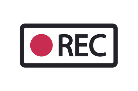 Vector rec icon. Framed recording sign, currently recording, record button. 10 eps