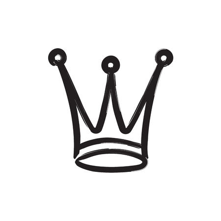 Hand drawn crown icon isolated on white background for queen logo, princess diadem symbol, doodle illustration, pop art element, beauty and fashion shopping concept. vector 10 eps