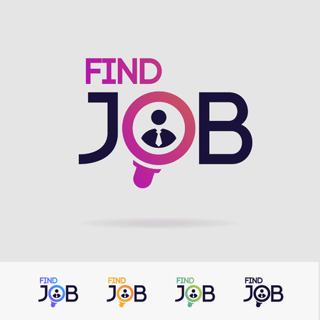 Finden Sie Job-Vektorsymbole isoliert auf weißem Hintergrund für Suchagentur, Einstellung, Headhunter-Website, Rekrutierung, Arbeitsagentur, HR, Recruiting-Konzept. Suche nach Mann-Symbol. Mitarbeiterschild 10 eps Vektorgrafik