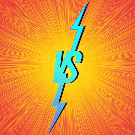 Versus banner with vs sign on bright background for announcement of two fighters, match game, battle, sport, competition, contest. Modern VS concept. Vector 10 eps