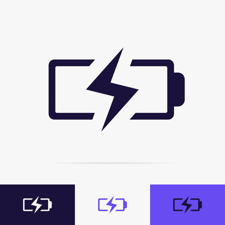 Battery charging icon vector set. Battery low icon for energy symbol mobile phone, lightning sign, energy indicator power station. Electricity car sign 10 eps Archivio Fotografico