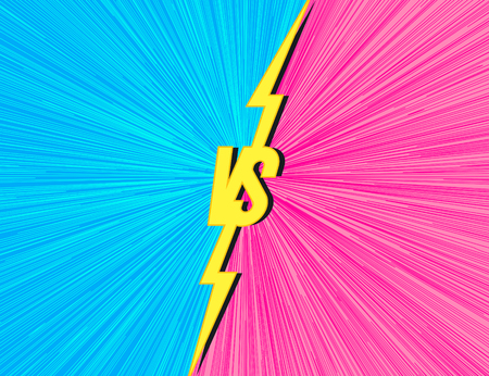 Vector versus background with vs sign cyan pink color for match game, battle, sport, competition, contest, announcement of two fighters. Modern VS concept. 10 eps Иллюстрация